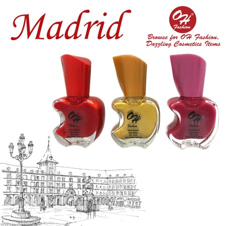 OH Fashion Nail Polish Apple Bite Madrid Several Colors Candy Red, Dandelion Gold and Magenta Pink 3 PCS OH Cities Collection Manicure, Pedicure, Nail Color - 0.61 fl oz bottles (Rainbow Nails New City)