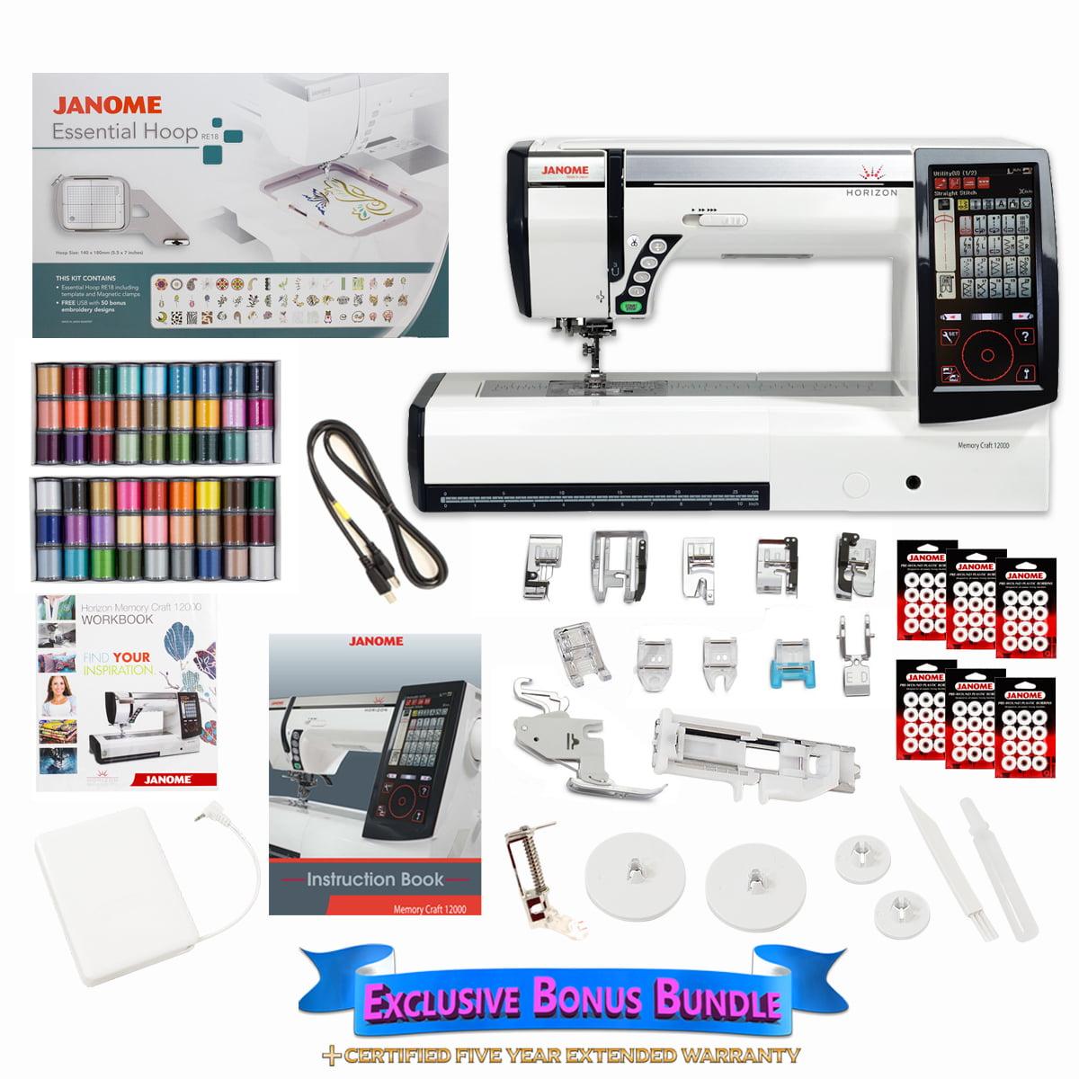 Janome memory craft 12000 - Janome Horizon Memory Craft 12000 Embroidery And Sewing Machine With Exclusive Bonus Bundle Walmart Com