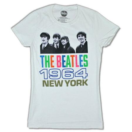 1964 Natural - Beatles 1964 New York Girls Juniors Natural T Shirt
