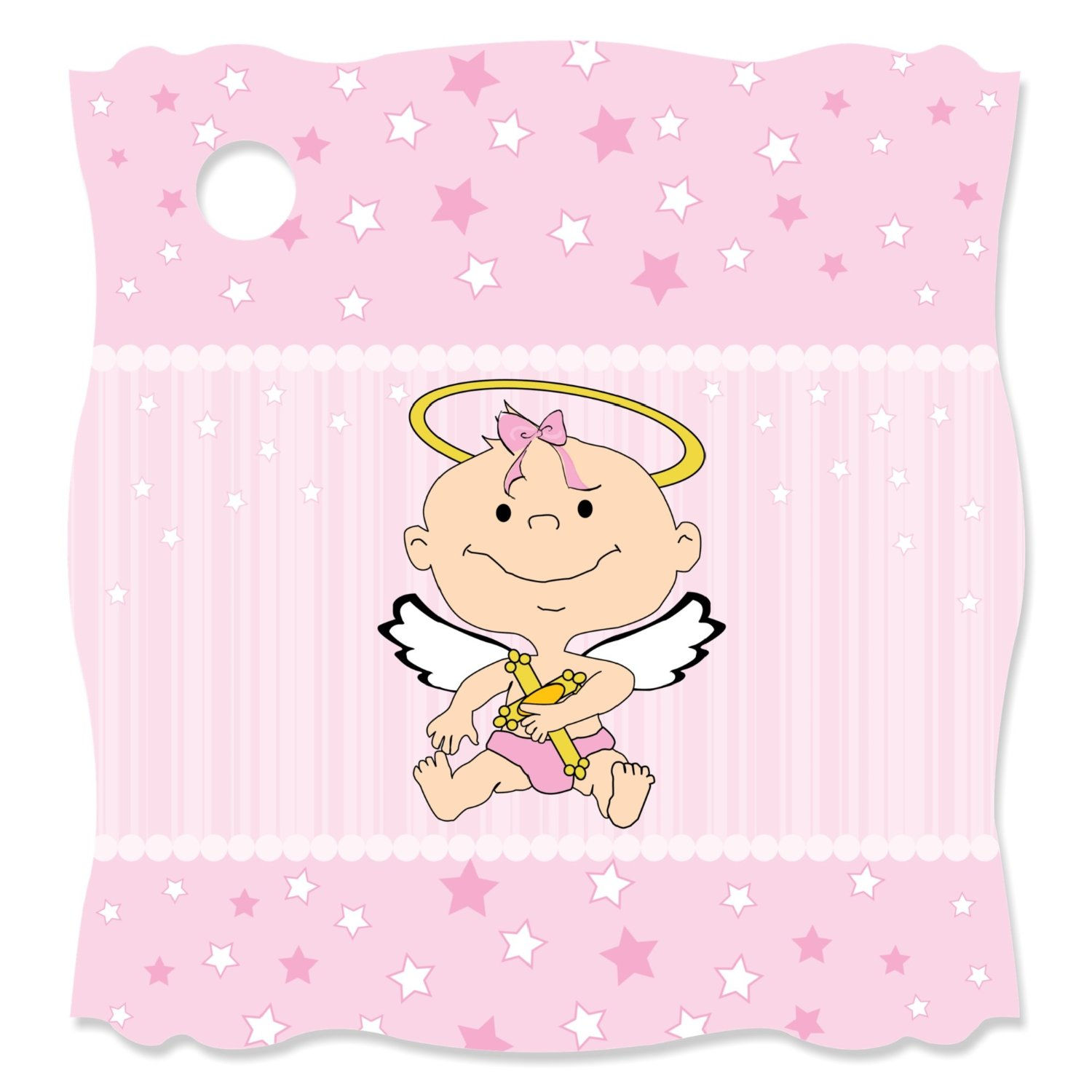Angel Baby Girl - Baptism Die-Cut Party Favor Tags (Set of 20)
