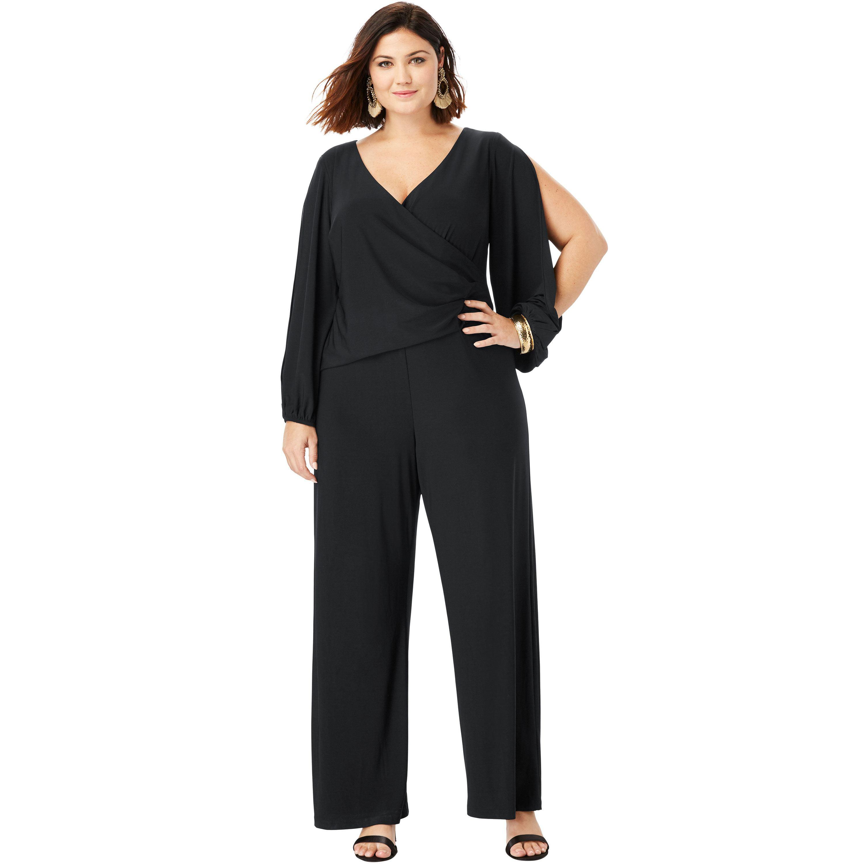 3766f4d5c517 Roaman s - Plus Size Wide-leg Jumpsuit With Slit Sleeves - Walmart ...