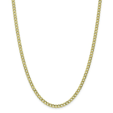 10k Yellow Gold 4.3mm Curb Cuban Link Chain Necklace 24 Inch Pendant Charm