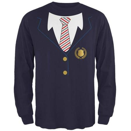 Halloween American School Girl Costume Mens Long Sleeve T Shirt (School Girl Halloween Ideas)