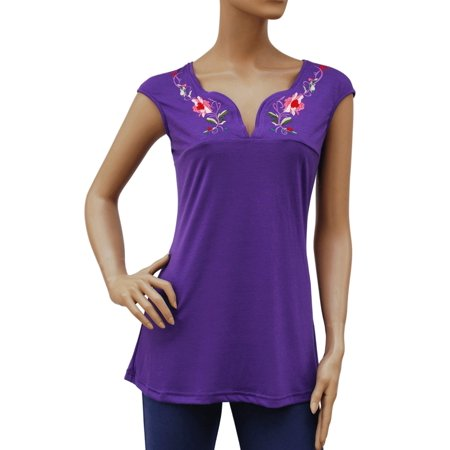 Faship Womens Floral Embroidered Embroidery Stretch T-Shirt Top Tee Blouse
