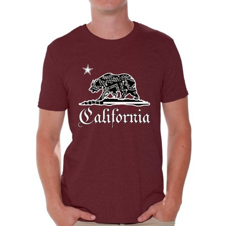 Awkward Styles California Republic Bandana Tshirt California Shirts for Men California Bear T Shirt Cali Gifts Cali T-Shirt Gifts from California - Mens California Bears
