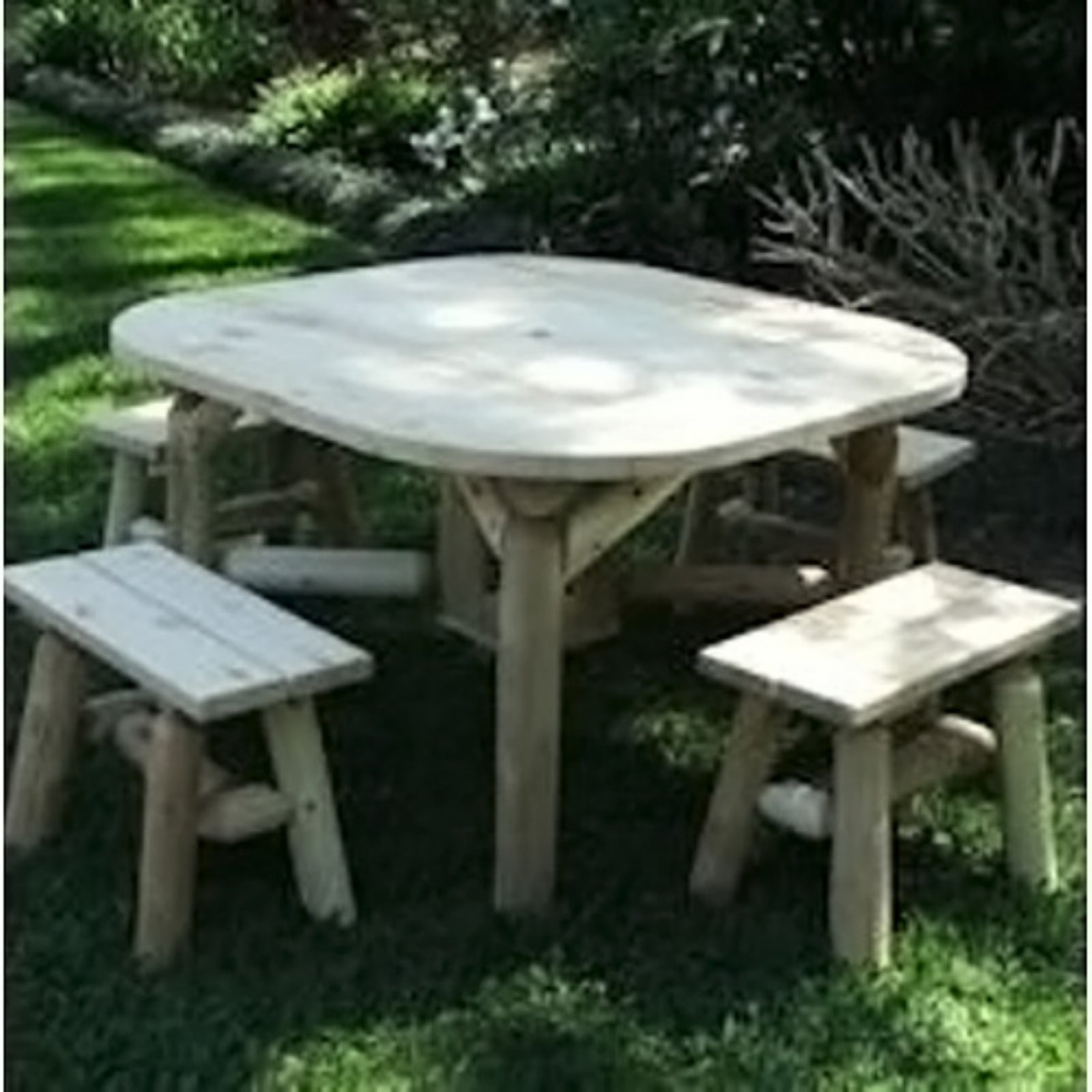 Lakeland Mills Roundabout 47 in. Table with Benches Set of 5 by