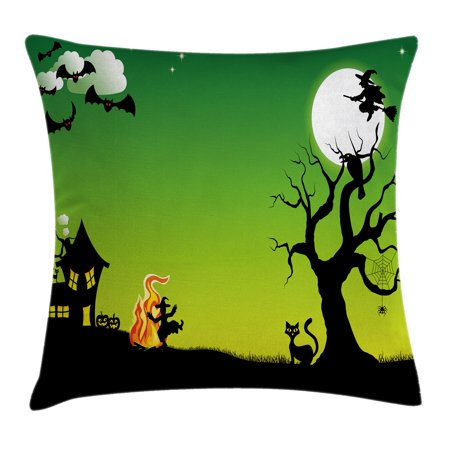 Halloween Decorations Throw Pillow Cushion Cover, Witch Dancing with Fire at Halloween Ancient Western Horror Image, Decorative Square Accent Pillow Case, 16 X 16 Inches, Green Black, by Ambesonne