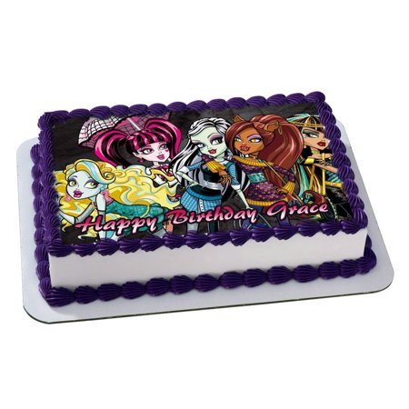 MONSTER HIGH Quarter Sheet Edible Photo Birthday Cake Topper. ~ Personalized! 1/4 Sheet  - Monster High Birthday Theme