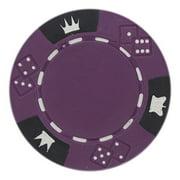 Crown & Dice Premium Blank 14g Poker Chips, Purple Composite, 50-pack