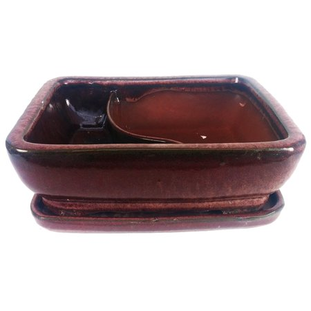 "Land and Sea Ceramic Bonsai Pot with Saucer - 6"" x 4.5"" x 2"" - Red"