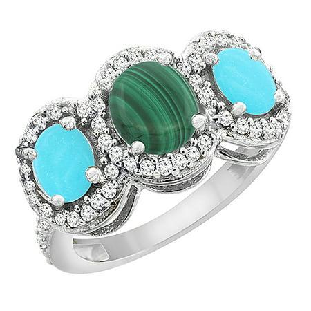 10K White Gold Natural Malachite & Turquoise 3-Stone Ring Oval Diamond Accent, size (Turquoise Malachite)