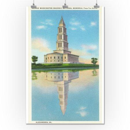 Alexandria, Virginia - G  Washington Masonic Nat'l Memorial View (24x36  Giclee Gallery Print, Wall Decor Travel Poster)
