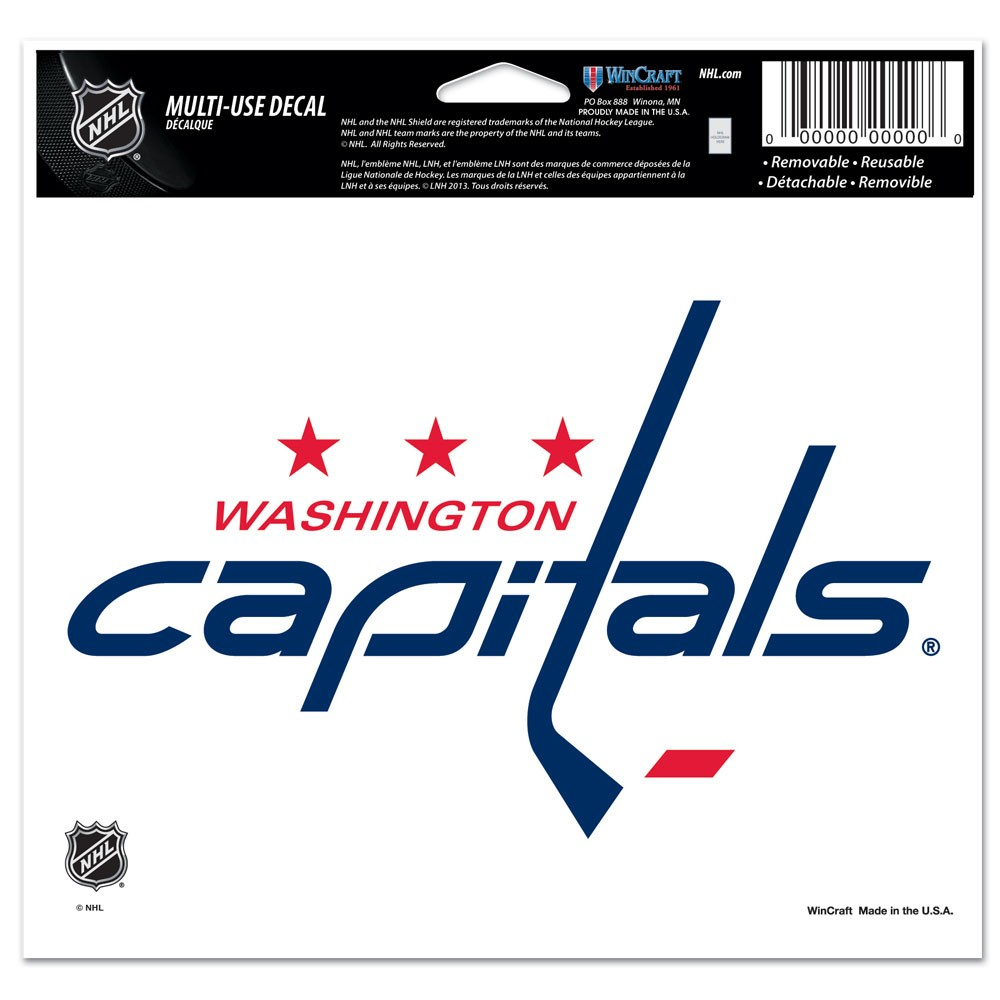 Washington Capitals Official NHL 4 inch x 6 inch  Car Window Cling Decal by WinCraft