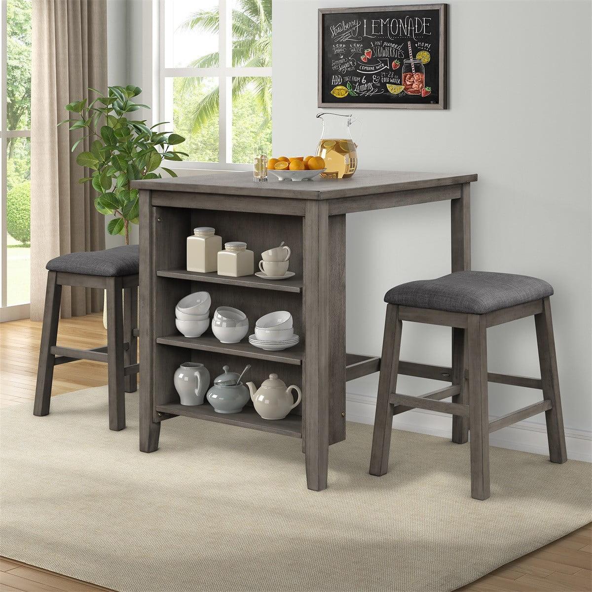 ModernLuxe 3-Piece Wooden Counter Height Dining Table Set ...