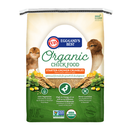 Eggland's Best Organic Chick Starter / Grower Chicken Feed, 32 lbs.
