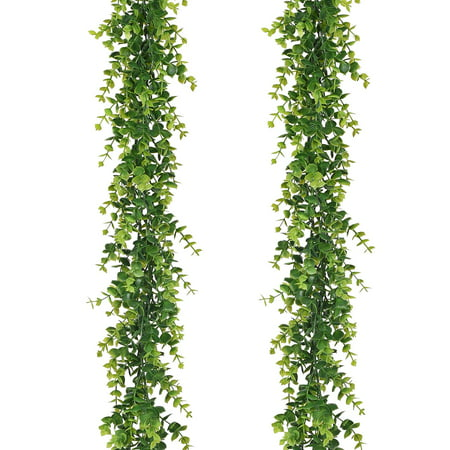 Dragonfly Garland (Artificial Vines Faux Eucalyptus Garland, 2 Pack Fake Eucalyptus Greenery Garland Hanging Vine Plant, 6 Feet/pcs Eucalyptus Leaves for Wedding Backdrop Arch Wall Table Festival Party Decor)