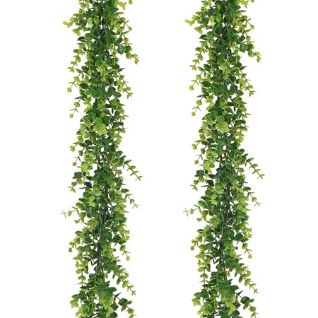 Artificial Vines Faux Eucalyptus Garland, 2 Pack Fake Eucalyptus Greenery Garland Hanging Vine Plant, 6 Feet/pcs Eucalyptus Leaves for Wedding Backdrop Arch Wall Table Festival Party Decor