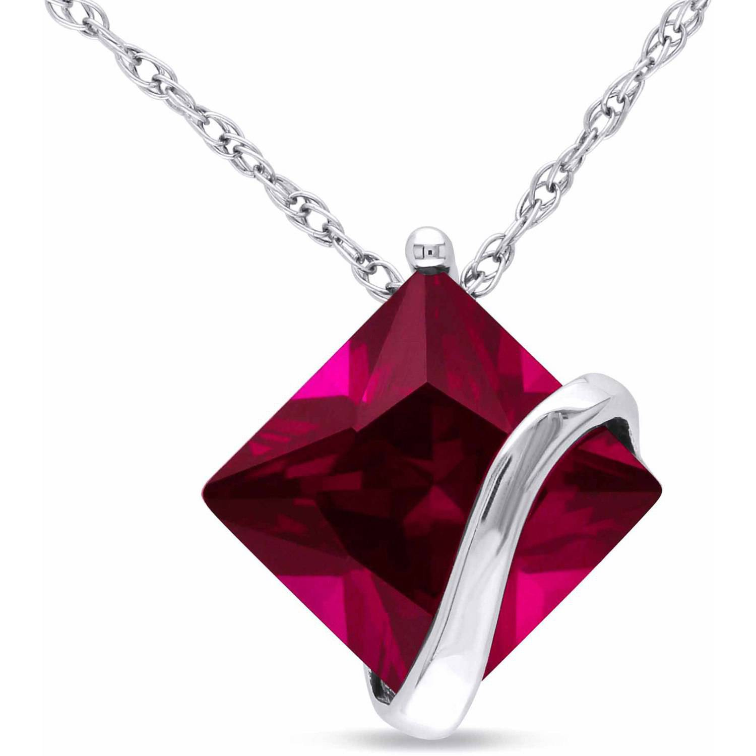 Tangelo 3.06 Carat T.G.W. Created Ruby 10kt White Gold Diamond-Shaped Solitaire Pendant, 17""