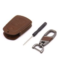 Brown Faux Leather Trapezoid Car 4 Button Remote Key Cover Case for