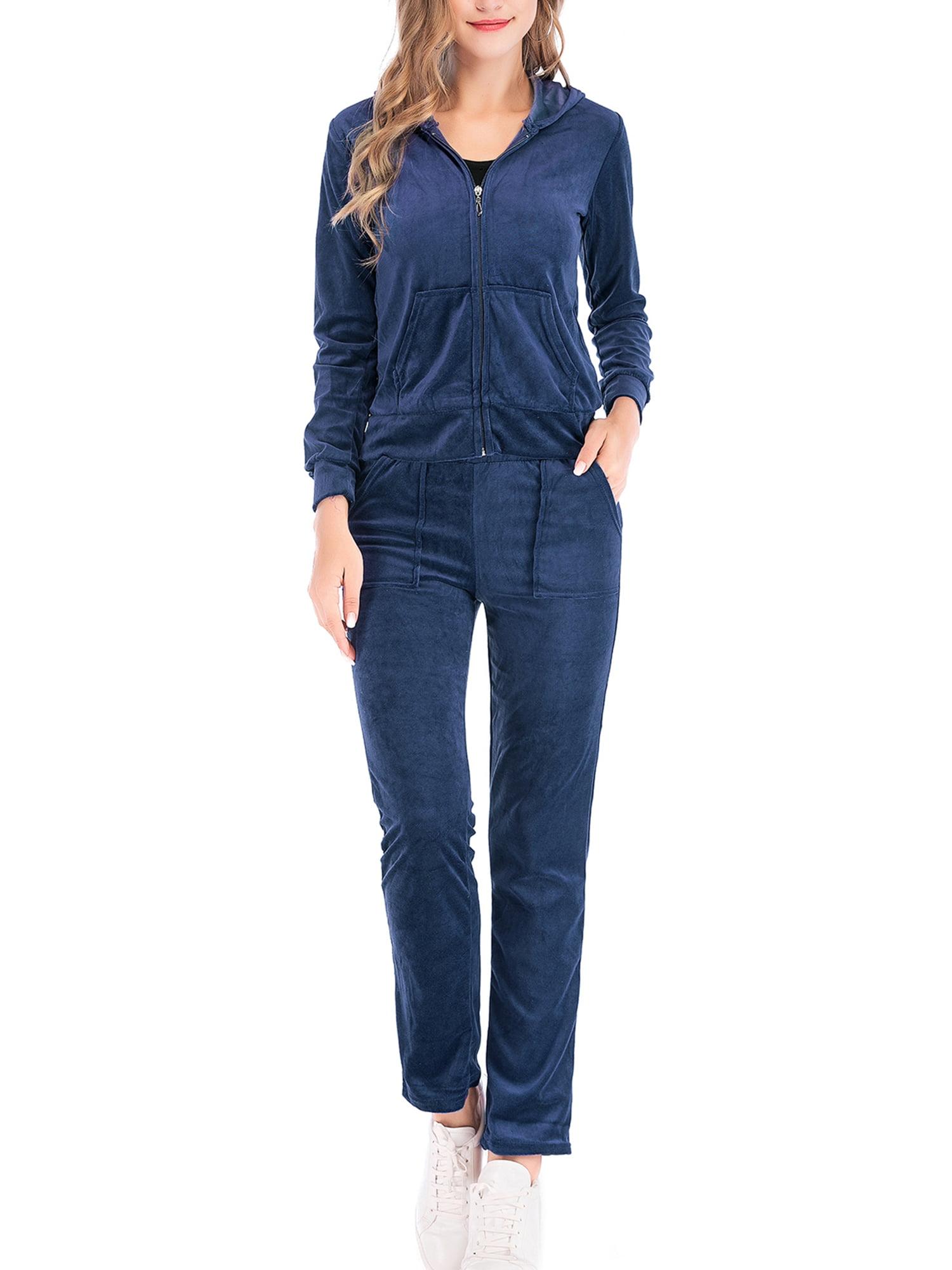 Womens Ladies Velvet Tracksuit Set 2 Piece Sweatshirt//Joggers Loungewear Suit