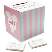 Gender Reveal Baby Shower Party Voting Box with 50 Ballot Cards Set, Pink and Blue, 8 inches