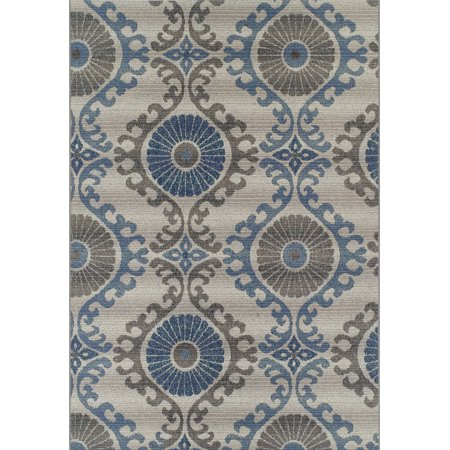 Dotted Vines (Dalyn St Croix Area Rugs - SX2 Contemporary Silver Curves Dots Circles Vines Rug)