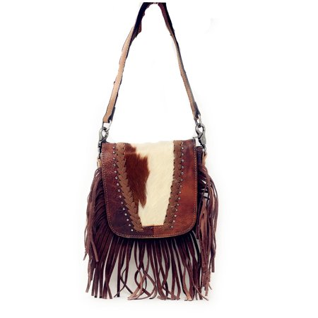 Western Genuine Leather Cowhide Fur Fringe Womens Crossbody Bag In Multi Color