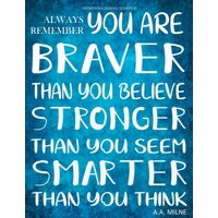 Inspirational Journal to Write in - Always Remember You Are Braver : Than You Believe - Stronger Than You Seem - Smarter Than You Think Journal with Inspirational Quotes - Notebook (8.5 X 11)