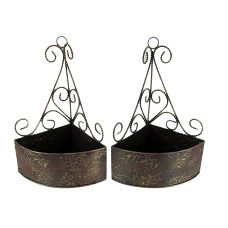 Brown Gold Embossed Tin Wall Mount Corner Baskets Set of 2