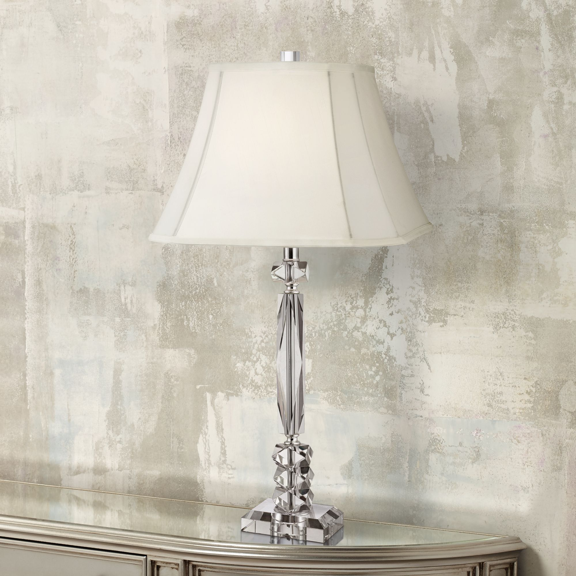 Vienna Full Spectrum Traditional Table Lamp Crystal Cut Column