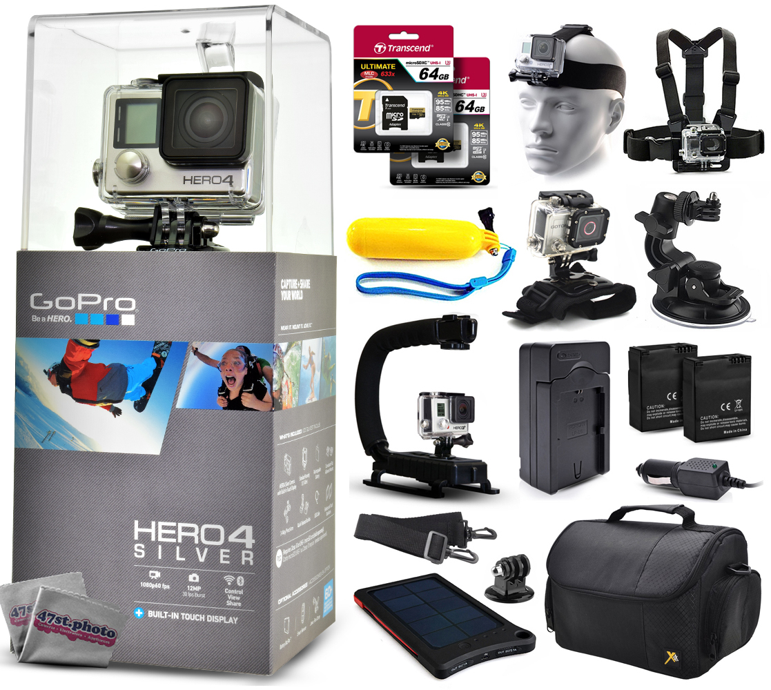 Buy GoPro Hero 4 HERO4 Silver CHDHY-401 with 128GB Ultra Memory + Solar Charger + Headstrap + Chest Harness + Floaty Bobber... by GoPro