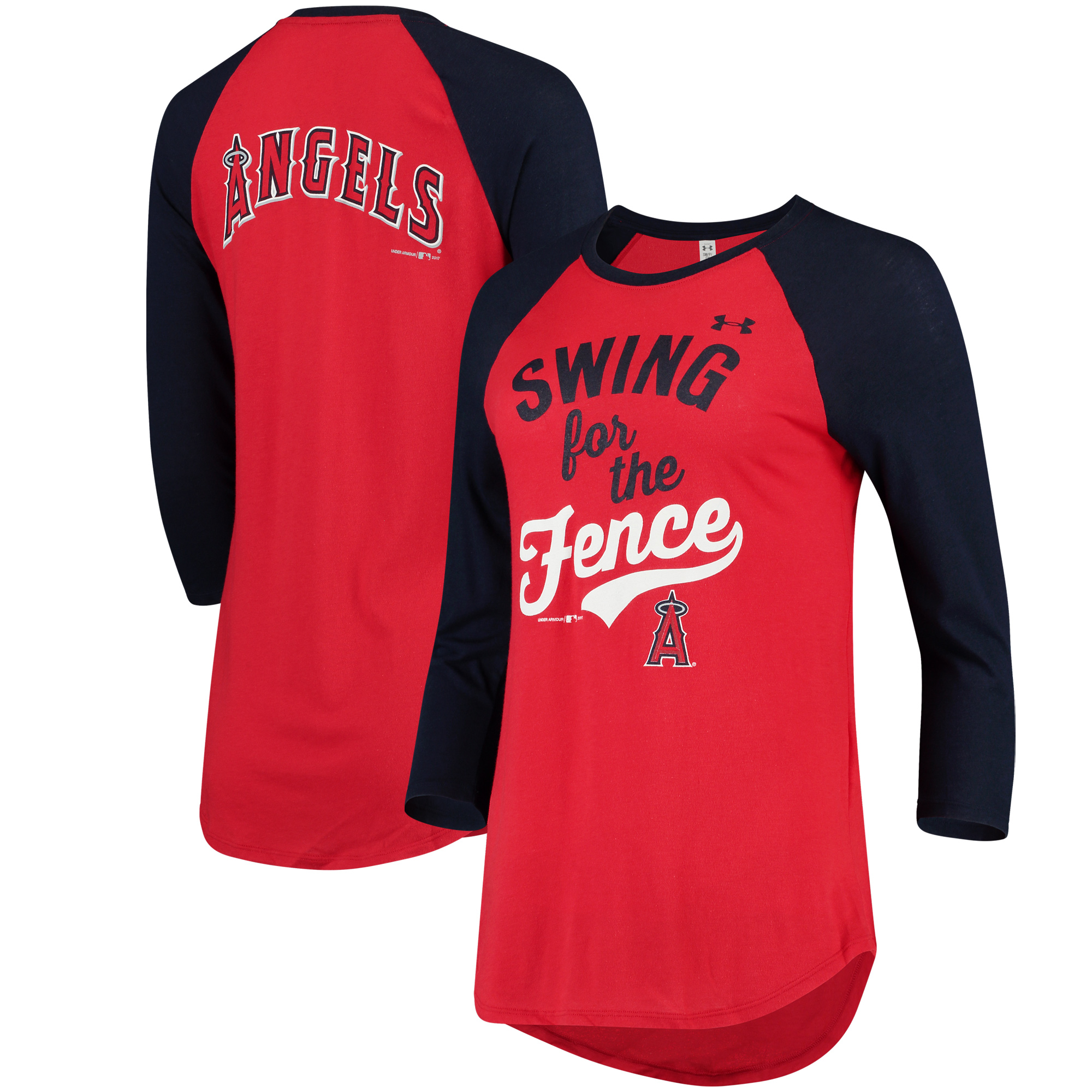 Los Angeles Angels Under Armour Women's Baseball 3/4-Sleeve Performance T-Shirt - Red/Navy