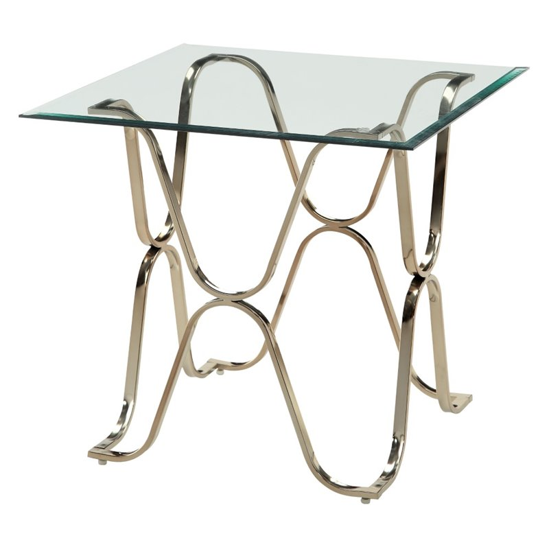 Furniture of America Hobbs Square Glass Top End Table in Champagne
