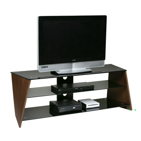 OneSpace Twisted Wood Walnut Veneer TV stand with Black Tempered Glass (Glass Veneer)