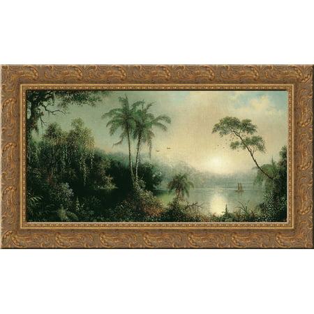 Sunrise in Nicaragua 24x14 Gold Ornate Wood Framed Canvas Art by Martin Johnson Heade ()