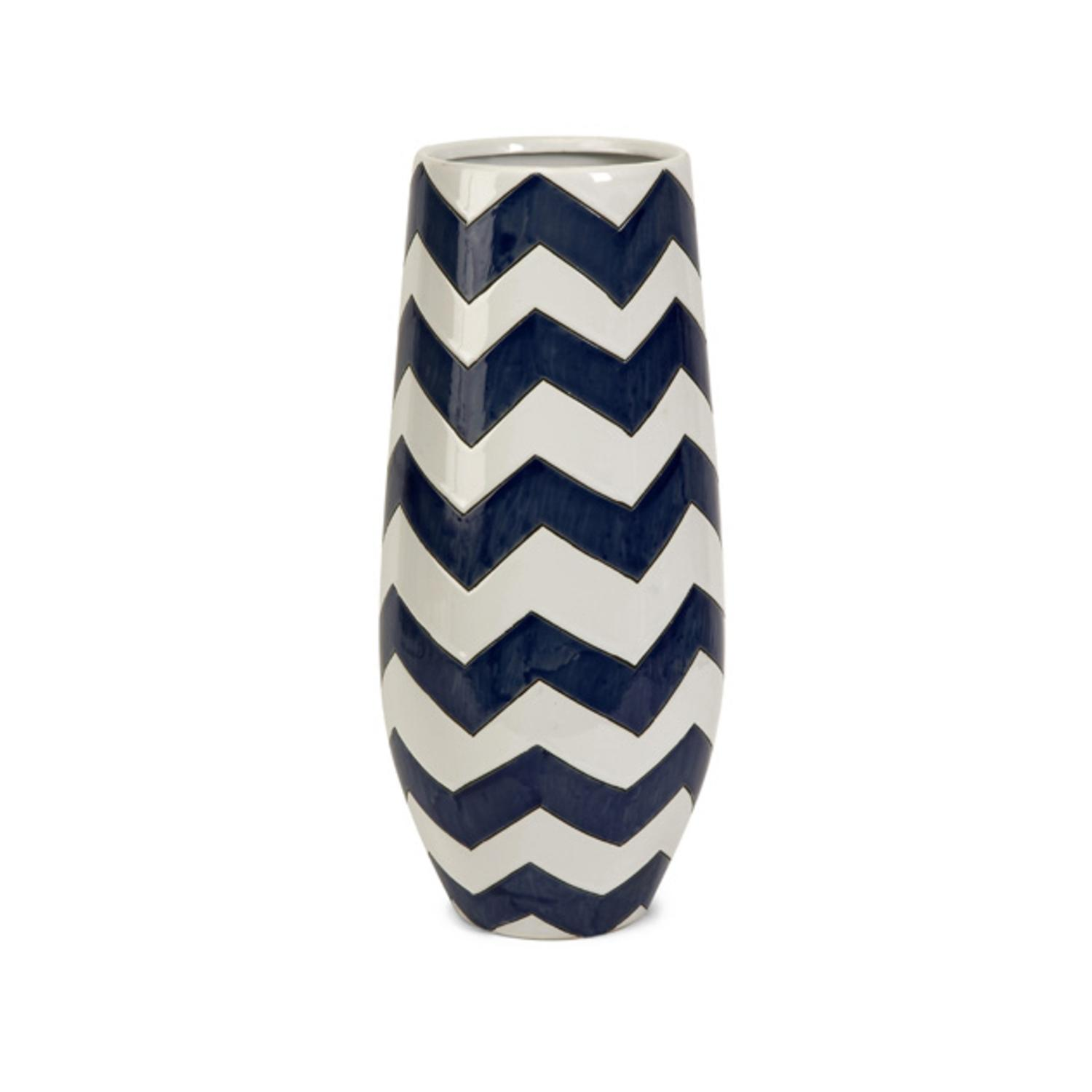 """15.75"""" Classic Jibe Navy Blue and White Patterned Short Ceramic Table Top Vase"""
