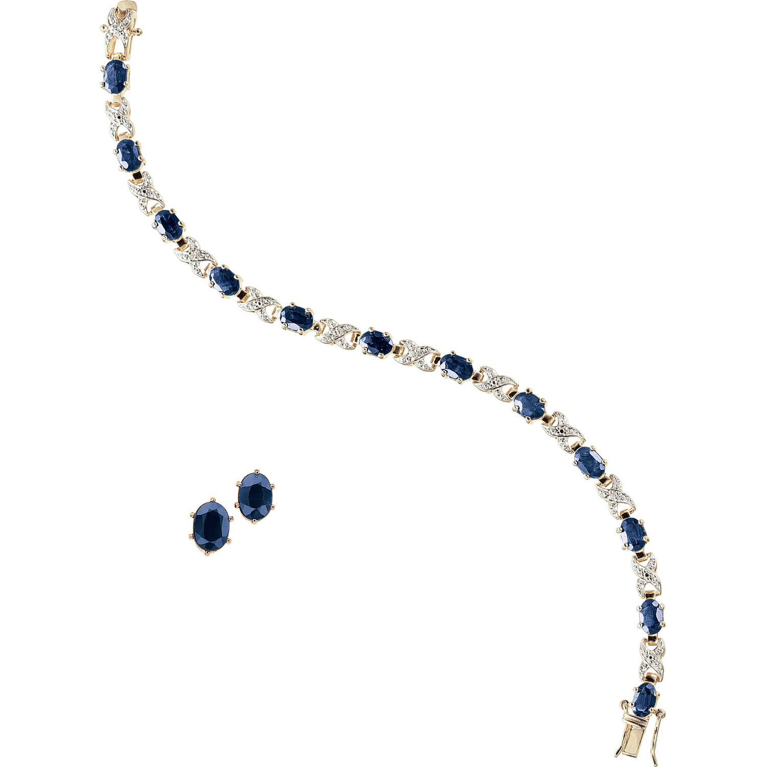 "Gold and Rhodium Plated Sapphire Ovals with Diamond Accent Bracelet with Oval Earring Set, 7"" by Generic"