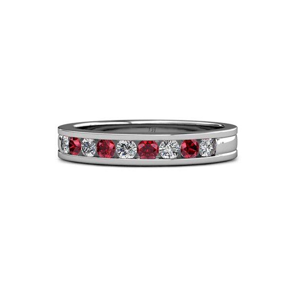 Ruby and Diamond 2.20mm 9 Stone Wedding Band 0.37 Carat tw in 14K White Gold.size 3.5