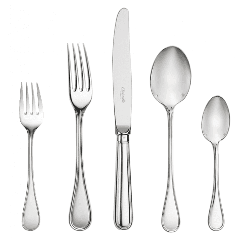 12 Christofle Silver Plated Albi 5-Piece Place Settings 60 Pieces by