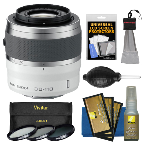 Nikon 1 30-110mm f/3.8-5.6 VR Nikkor Lens (White) with 3 UV/CPL/ND8 Filters + Accessory Kit for 1 S1, S2, J3, J4, J5, V2, V3, AW1 Digital Cameras