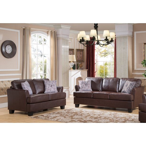 Piece Transitional Living Room, Faux Leather Living Room Set