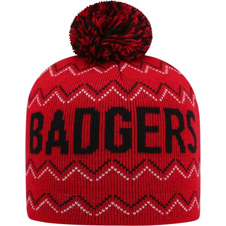 Youth Russell Red Wisconsin Badgers Rimy Knit Beanie With Pom - OSFA
