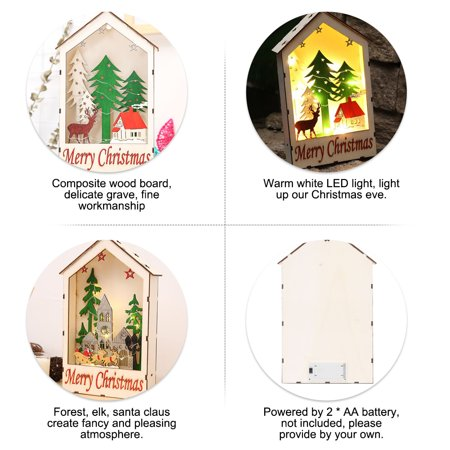 Hanging Wood Chalet With LED Light Christmas Decorative Hotel Bar Cafe House Christmas Tree Decoration Festival Xmas Ornaments City](Pool City Christmas Decorations)