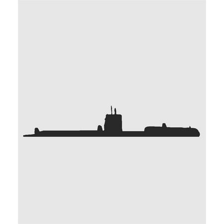 US Military Navy Nautical Submarine Ship Picture Art - Men Boys Room Home Decor Sticker - Vinyl Wall Decal 6x20 Inches - Boys Military