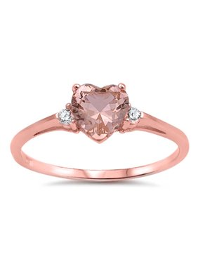 e55badaa2 Product Image CHOOSE YOUR COLOR Rose Gold-Tone Champagne Simulated CZ Heart  Ring New .925 Sterling