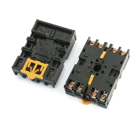 2pcs 35mm DIN Rail Mounting 8 Screw Terminal 10A 250VAC Socket Base P2CF-08