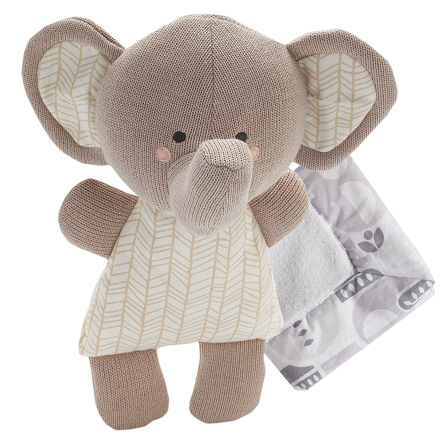 Softie Plush & Blanket - Emmerson Elephant (Knit) - Cotton Stuffed Animal And Security Blanket Set, Soft &Comforting For Babies,.., By Lolli Living Ship from US