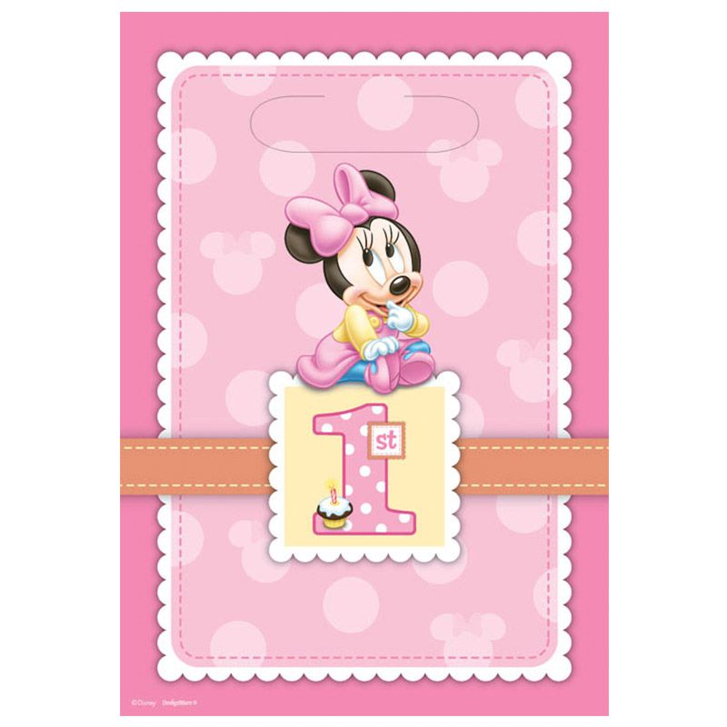 Minnie Mouse 1st Birthday Loot Bags (8 Pack) - Party Supplies