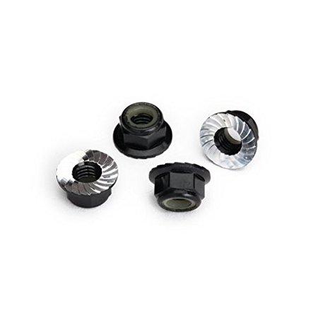 Traxxas 8447A Serrated Aluminum 5mm Flanged Nylon Locking Nuts, Black