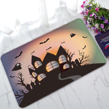 YKCG Happy Halloween Funny Ghost Fantasy Castle Black Tree Doormat Indoor/Outdoor/Bathroom Doormat 30x18 inches